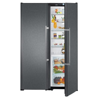 Liebherr Black Freestanding Side By Side Fridge Freezer-SBSbs 7253