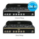 Falcon Classic Deluxe Black 90cm Dual Fuel Stove-S9-CDL90DFBL/CH or S9-CDL90DFBL/BR