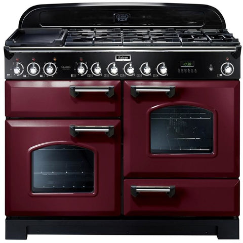 Falcon Classic Deluxe Cranberry 110cm Dual Fuel Stove-S11-CDL110DFCY/CH or S11-CDL110DFCY/BR