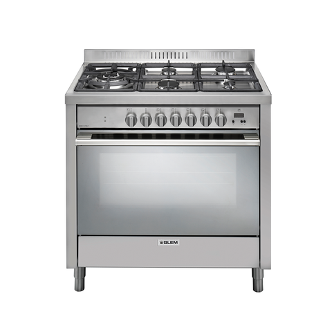Glem 90cm Multi-function Electric Oven with Wok Friendly 5 Burner Cooktop-IT965PROEI2