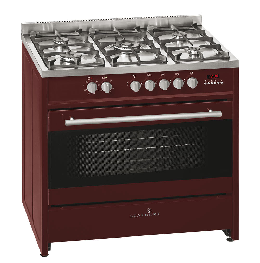 Scandium 90cm Burgundy Upright Cooker-SCU900BG