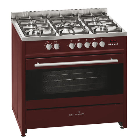 Ex Display Scandium 90cm Burgundy Upright Cooker-SCU900BG