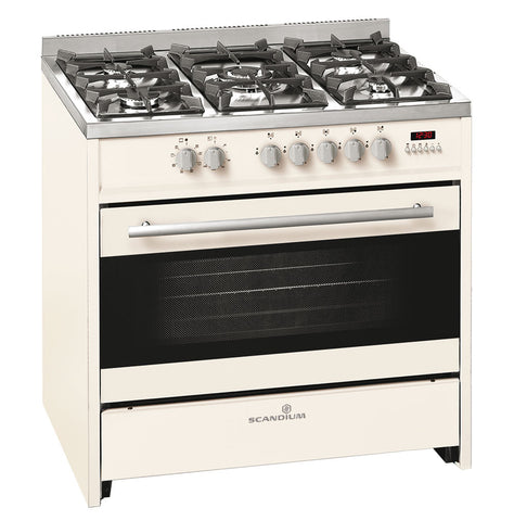 Ex Display Scandium 90cm Cream Upright Cooker-SCU900CR