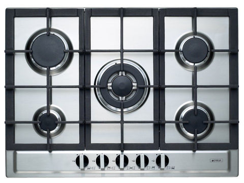 Emilia 70cm Stainless Steel Gas Cooktop with Wok Burner-SEC75GWI
