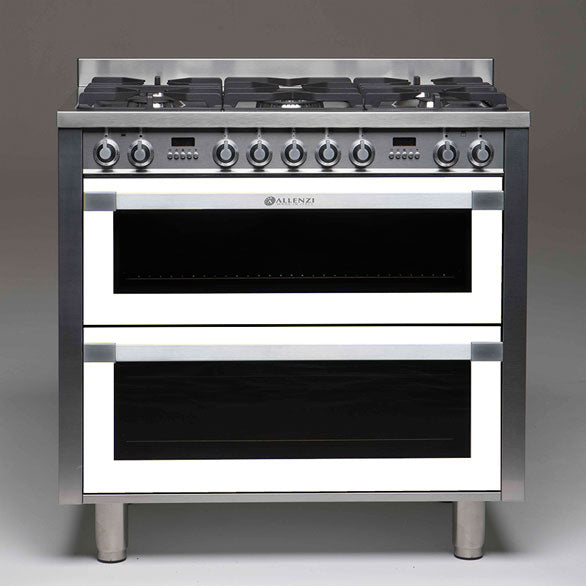 Allenzi White 90cm Wide Freestanding Double Oven-AS9DEEGS(White)