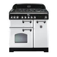Falcon Classic Deluxe White 90cm Dual Fuel Stove-S9-CDL90DFWH/CH or S9-CDL90DFWH/BR