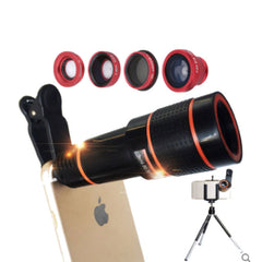 12x Mobile Phone Telephoto Lens with Fisheye, Macro, Wide Angle and Polarizer (Five in One Package)