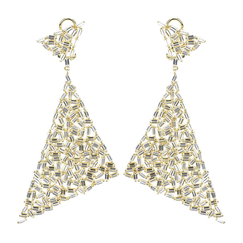 Baguette Triangle Cluster Evening Earrings