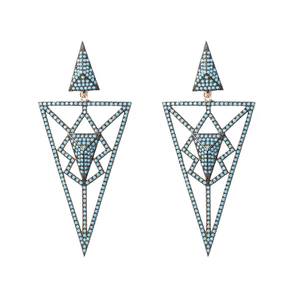 Triangles White  Evening Earrings