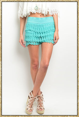 Mint crochet shorts with stretch waistband