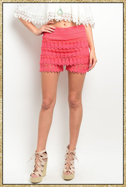 Coral crochet short with stretch waistband