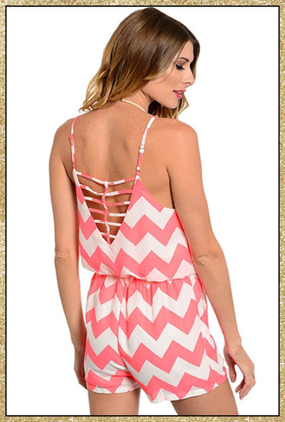 Neon pink and ivory chevron print spaghetti strap romper with upper back design
