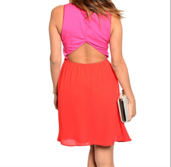 'Sugar & Spice' Pink/Red Sleeveless Dress