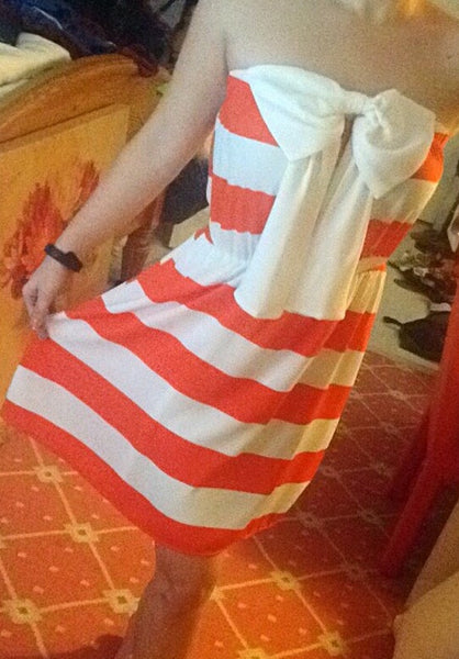 'Tied With A Bow' Orange/White Striped Dress