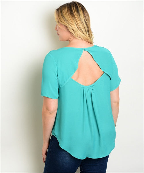 'Must Be Love' Mint Short Sleeve Top (CURVY)