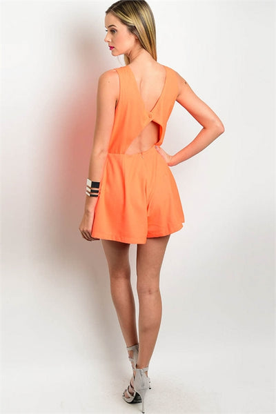 'Right By You' Neon Coral Embellished Romper