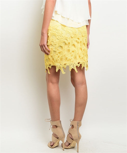 'Find My Way' Yellow Floral Crochet Skirt