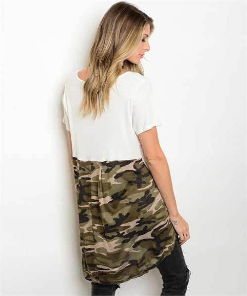 'On A Mission' Ivory Camouflage Tunic Top