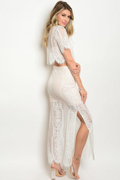 'Last Time' Ivory Blush Lace Crop Top And Skirt Set