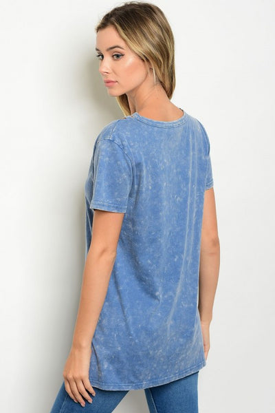 'Caged In' Blue Tie Dye Short Sleeve Top