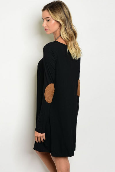 'Hold On' Black Long Sleeve Elbow Patch Piko Dress