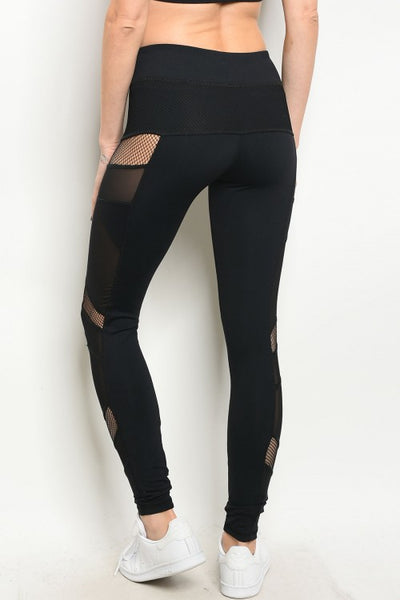 'Be A Force' Black Mesh Athletic Leggings