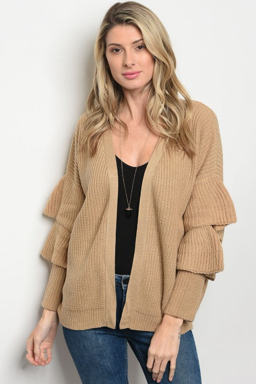 Camel ruffle sleeve sweater cardigan