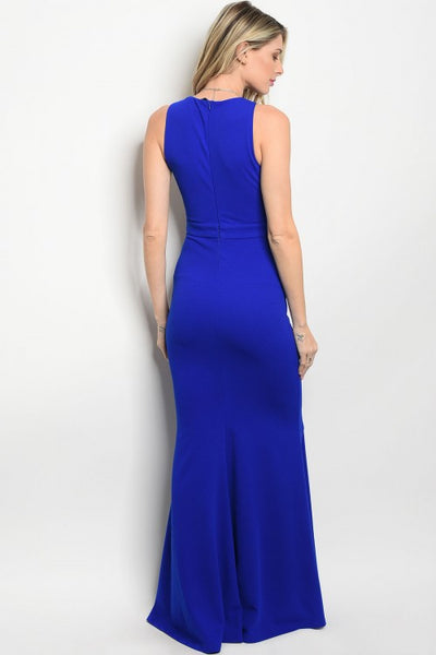 'Indulge' Royal Blue Boat Neck Dress