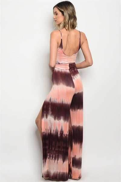 'You Found Me' Brown Coral Tie Dye Jumpsuit