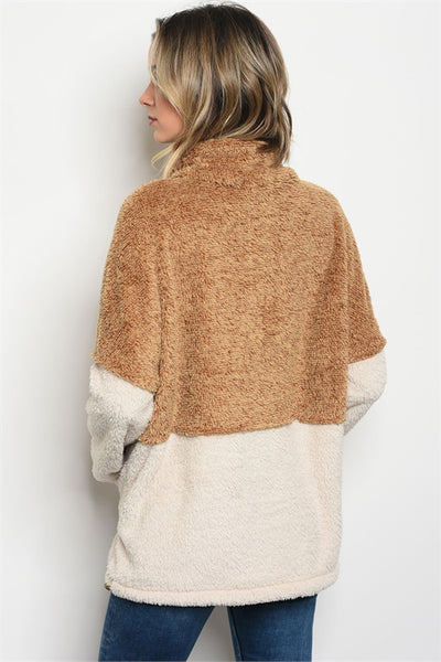 'Not This Time' Camel Beige Pullover Plush Sweater