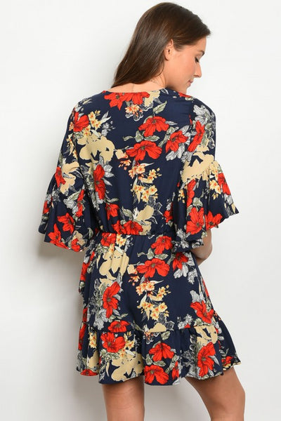 'For The Best' Navy Blue Floral Dress