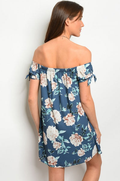 'Delilah' Indigo Floral Off Shoulder Dress
