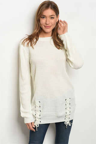 'Anna' Ivory Long Sleeve Knit Sweater