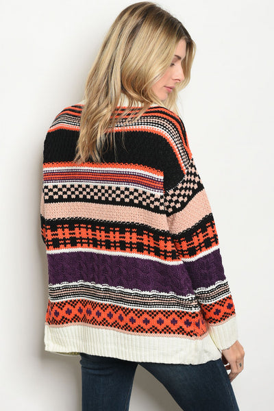 'Pumpkin Patch' Multi Colored Knit Sweater Cardigan