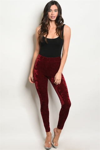 red wine velvet leggings