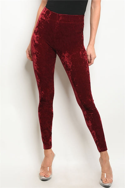 'To My Head' Wine Velvet Leggings