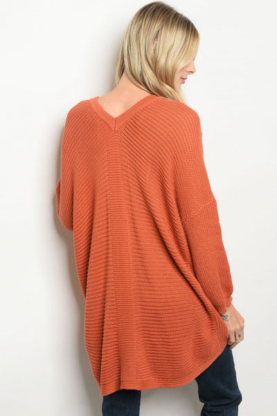 'Spiced' Burnt Orange Long Sleeve Knit Sweater