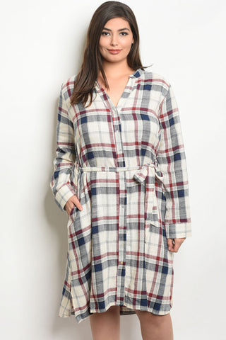 cream, red and blue plaid belted plus size dress