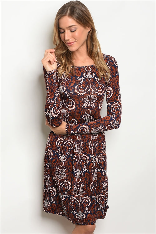 'Autumn Crisp' Navy Copper Long Sleeve Dress
