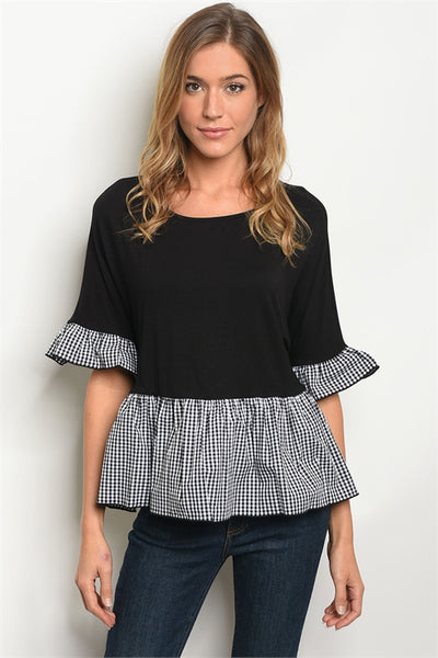 'Forward' Black White Plaid Ruffle Top