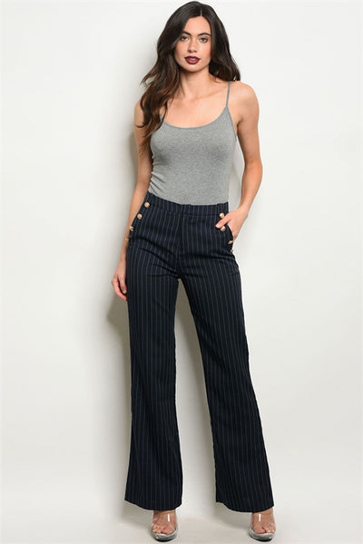 'Self Made' Navy Blue Pinstripe Pants