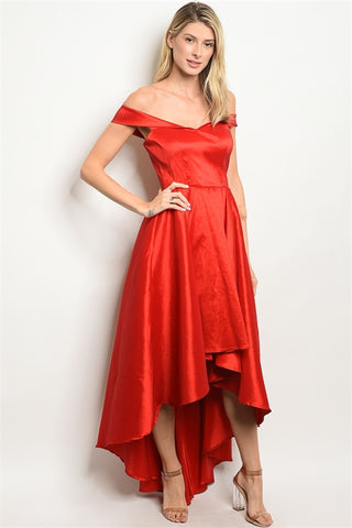 'Deck The Halls' Off Shoulder Taffeta High Low Gown