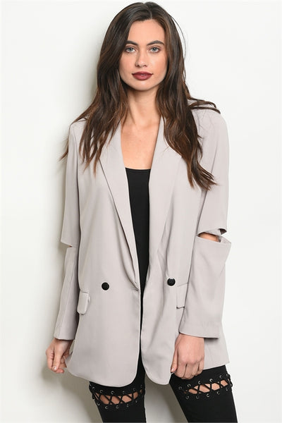 'Like Minded' Grey Open Elbow Blazer Jacket