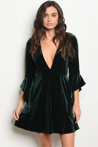 'Envy' Deep Green Velvet Plunge Neck Dress
