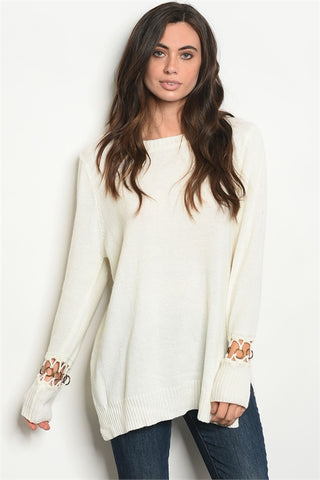'All Along' Ivory Loop Sleeve Knit Sweater