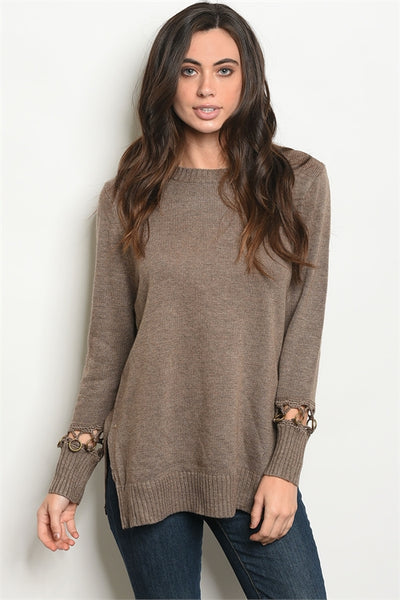 'All Along' Mocha Loop Sleeve Knit Sweater