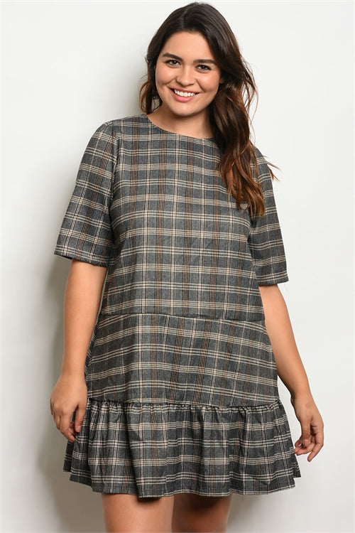 'Nearly There' Grey Plaid 3/4 Sleeve Ruffle Dress (CURVY)