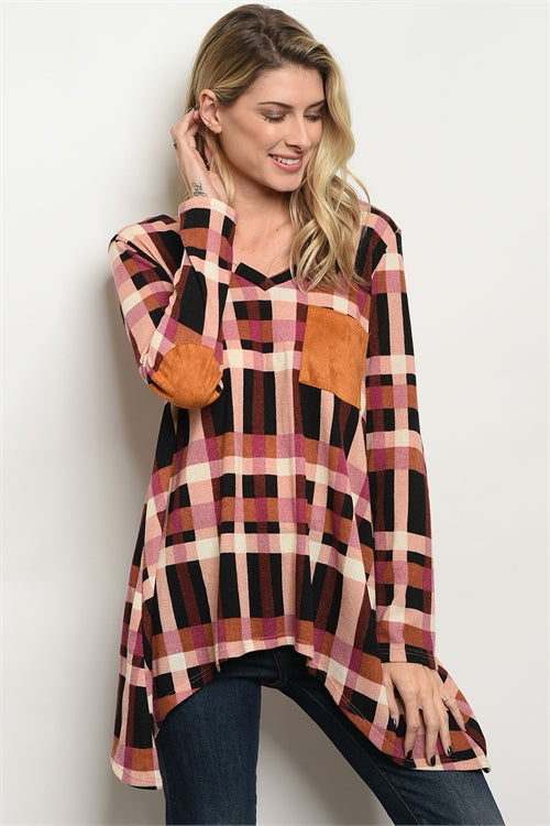'How You Love Me' Pink Camel Plaid Long Sleeve Top