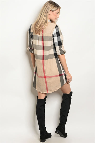 'Designer' Beige Red Black Plaid Button Up Dress
