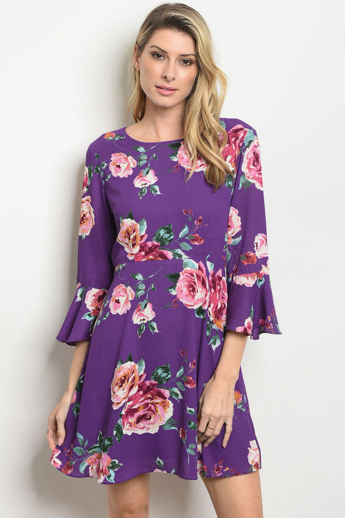 'Leanne' Purple Floral Belled 3/4 Sleeve Dress